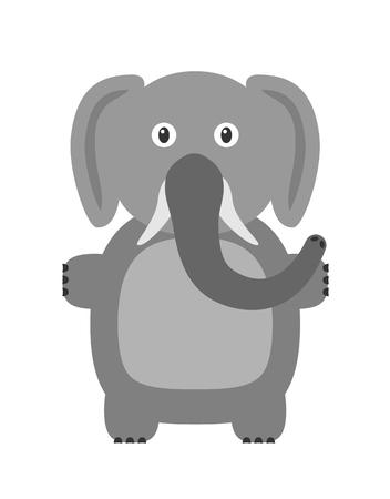 mammal: Elephant illustration as a funny character. Large mammal with long trunk. Small cartoon creature, isolated object in flat design on white background.