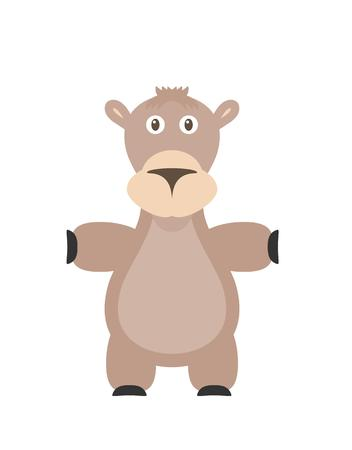 humps: Camel illustration as a funny character. Big mammal and even-toed ungulate with two or one hump. Small cartoon creature, isolated object in flat design on white background.