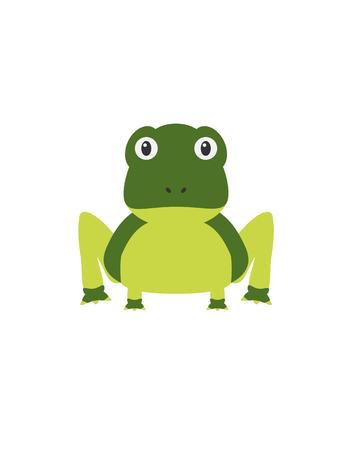 slimy: Frog illustration as a funny character. Slimy green amphibian animal. Small cartoon creature, isolated object in flat design on white background.