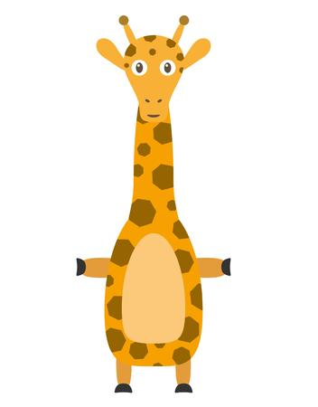 long neck: Giraffe illustration as a funny character. Wild and cute animal with long neck and spots on the skin. Small cartoon creature, isolated object in flat design on white background.