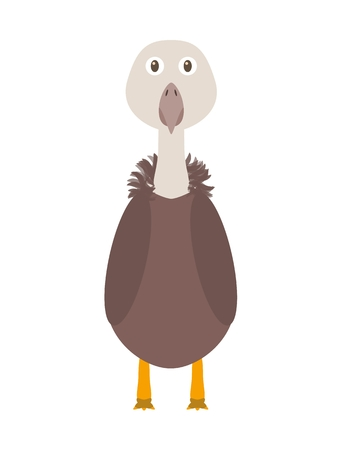 Vulture illustration as a funny character. Wild and dangerous bird. Small cartoon creature, isolated object in flat design on white background. Illustration