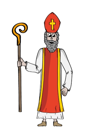 Saint Nicholas in bishop's clothing. Saint Nicholas as a symbol of goodness and wisdom and symbol of slavic Christmas. Sketch of the cartoon illustration isolated on white background. Иллюстрация
