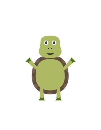 aquatic animal: Turtle illustration as a funny character. Small aquatic animal with shell. Small cartoon creature, isolated object in flat design on white background.