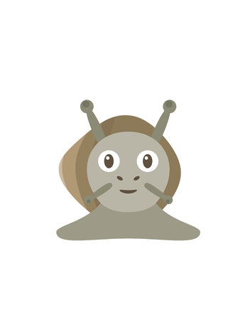 slimy: Snail illustration as a funny character. Slimy animal with shell on her back. Small cartoon creature, isolated object in flat design on white background. Illustration