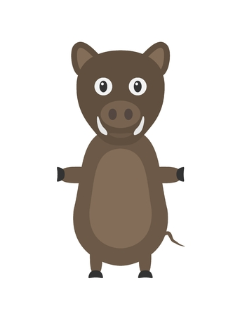 tusks: Wild boar illustration as a funny character. Wild and dangerous animal with tusks living in forest. Small cartoon creature, isolated object in flat design on white background. Illustration