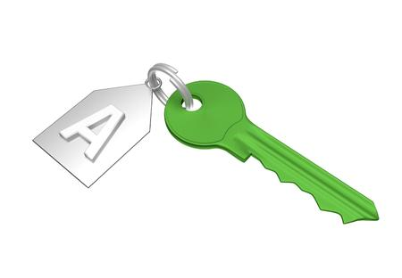 trinket: Green key and silver trinket with silver ring for locking lock and keep your private in safe. Trinket tag with energetic value of house. 3D illustration Stock Photo