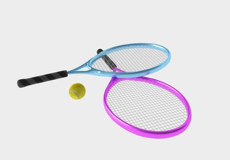 Violet and blue tennis rackets and yellow ball. Sport item for leisure activity. 3D illustration