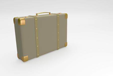 straps: Brown suitcase with straps suitable for traveling and with personal belongings. 3D illustration Stock Photo