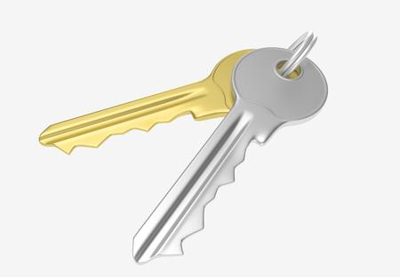 Gold and silver key with silver ring for locking lock and keep your private in safe. 3D illustration