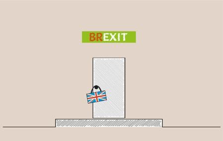 door handle: Brexit sign with door and british flag on door handle. Sign of leaving of European Union.