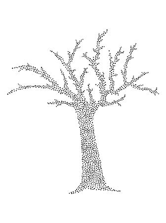 estilizado árbol de puntos negros aislados en el fondo blanco.