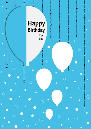 wishing: Birthday poster with splitted balloons and white different circle confetti on color background. Poster with wishing text: Happy Birthday To You on balloon.