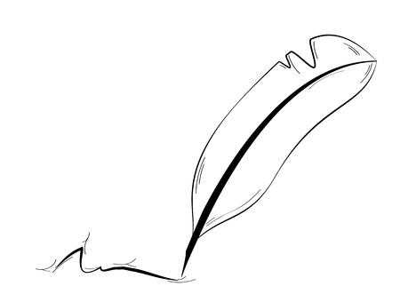 penna nera e firma astratto isolato su sfondo bianco. Quill come un antico penna - strumento per la scrittura.