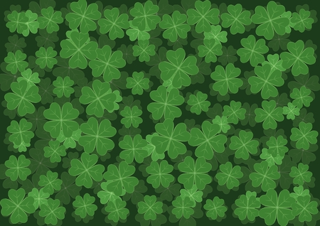 religious celebration: Background with clover with four leaves as a symbol of luck. Clover decoration as a symbol of irish cultural and religious celebration - Saint Patricks day.