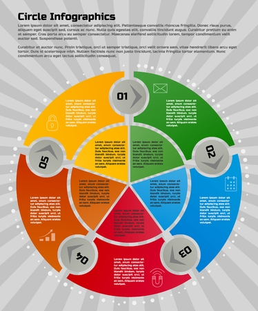 Infographic design template. Circular style of infographics for presentation of circular process in your business. Circle is divided into five steps.