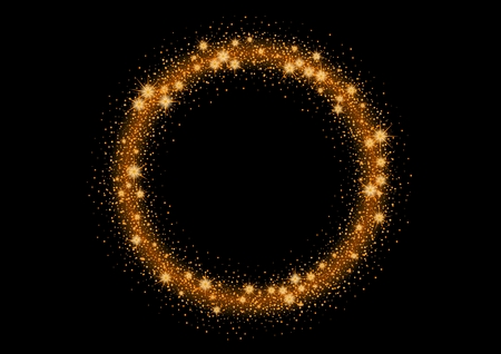 shiny black: Glittering gold stars and trail of sparkling particles. Illustration with glitter wave and shining gold stars and gold glittering and sparkling dust. Illustration of gold sparkling circle.