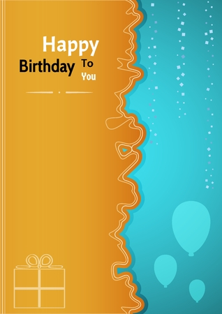 wishing: Birthday poster with two color background and wavy dividing line. Poster contains silhouettes of balloons, confetti and gift in white color. Poster with wishing text: Happy Birthday To You Illustration