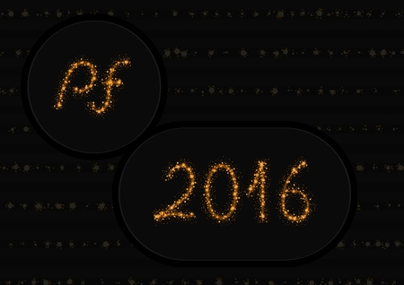 pf: Glittering gold stars and trail of sparkling particles. Glitter lines create text PF 2016 Illustration