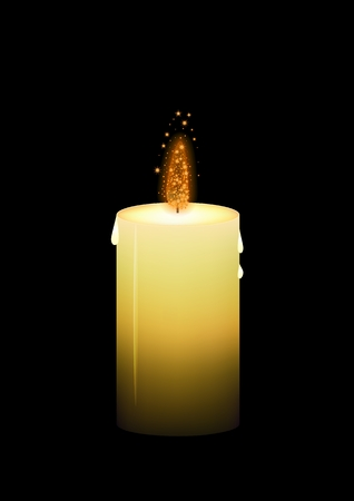 shinning: Shinning yellow wax candle with glittering fire on black background.