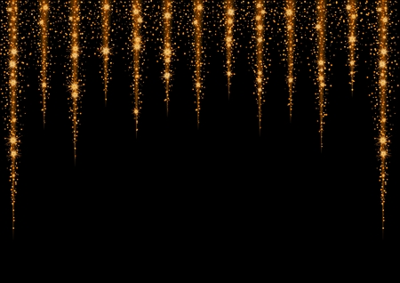 Glittering gold stars and trail of sparkling particles. Illustration with glitter vertical lines and shining gold stars and gold glittering and sparkling dust.