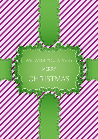 Christmas illustration with violet stripes and green ribbons with christmas wish. Illustration contains text: MERRY CHRISTMAS and HAPPY NEW YEAR. Illustration