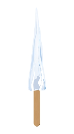 icicle: Icicle on wooden stick. Illustration of cold icicle on wooden stick as a sweet ice cream isolated on white background. Illustration