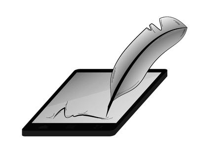 pluma de escribir antigua: pluma negro y firma abstracta aislado sobre fondo blanco. Quill como una pluma antigua (herramienta para la escritura) que combina con la tecnolog�a moderna (tel�fono). Vectores