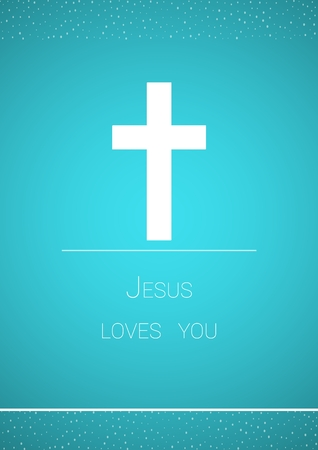 loves: White christian cross on blue background as a symbol of Jesus Christs crucifixion. Illustration contains text: Jesus loves you Illustration