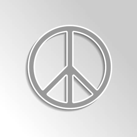 pacifist: Peace sign for pacifist on gray gradient background. Illustration of rounded peace sign as a symbol of peace, love and no war. Illustration