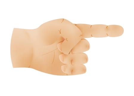 Human hand with one pointing finger. Illustration of hand sign pointing to something isolated on white background.