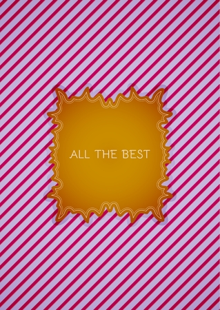 best wishes: Motivation sticker in retro vintage style with contrast colors on striped background. Sticker with motivation text: ALL THE BEST. Illustration