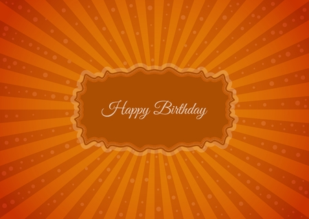 wishing: Decorative birthday label in retro star style on striped background. Poster with wishing text: Happy Birthday Illustration