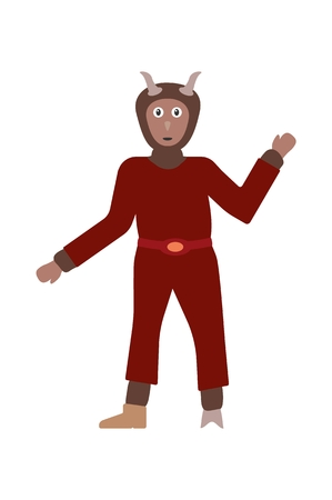 Devil in dark red dress with brown fur, horns and one hoof. Devil as a symbol of evil and symbol of slavic Christmas. Cartoon illustration in flat style isolated on white background.