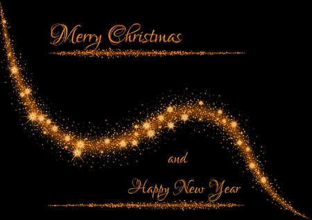 Christmas illustration with glittering stars on shining rounded line on black background. Illustration contains christmas wish: Merry Christmas and Happy New Year.