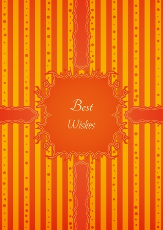 Decorative birthday sticker in retro vintage style on striped background. Poster with motivation text: BEST WISHES.