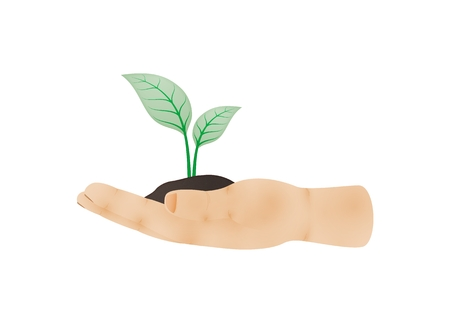 Human hand viewed from one side with green plant growing out of clay on palm as a symbol of ecology. Illustration of hand side with thumb isolated on white background. Illustration