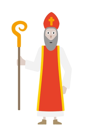 mitre: Saint Nicholas in bishops clothing. Saint Nicholas as a symbol of goodness and wisdom and symbol of slavic Christmas. Cartoon illustration in flat style isolated on white background.