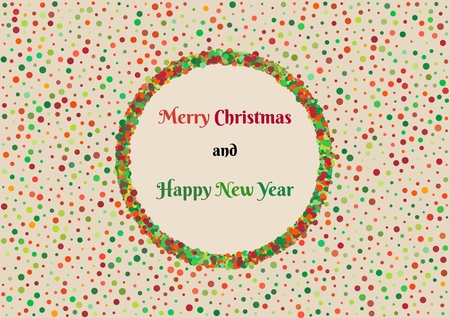 Background pattern with mess of color dots with different size and christmas wish. Multicolor dotted wallpaper contains text: Merry Christmas and Happy New Year. Illustration