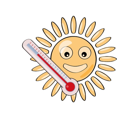 Sun and thermometer as a signs of hot summer. Illustration of sun in flat style isolated on white background.