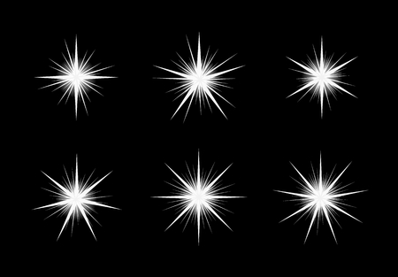 Collection of six white shinning stars on black backgound.