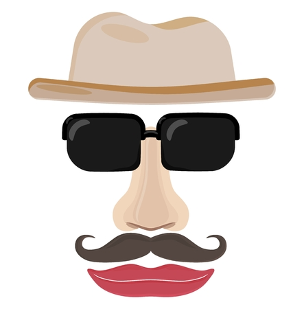 invisible: Funny face of invisible man. Illustration of man face with hat, sunglasses, nose, mustache and lips.