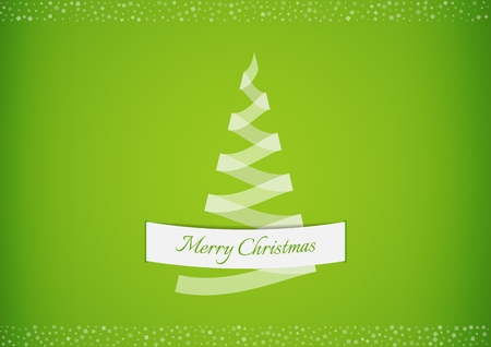 Stylized semi transparent white ribbon creating a christmas tree with white confetti. Christmas tree made from folded paper stripes like a origami tree. Illustration contains text: Merry Christmas.