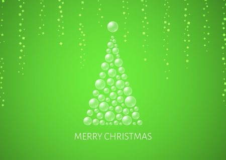 Christmas poster with abstract tree, confetti and gradient background. Illustration with text: Merry Christmas. Christmas tree is created by semi transparent bubbles and one big on the top as a star.