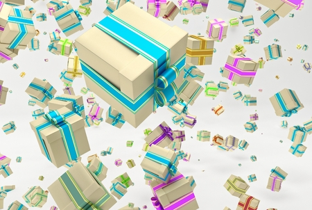endow: Background with falling christmas or any celebrations presents. Illustration of gifts with ribbon and bow and different dimension. 3D Rendering