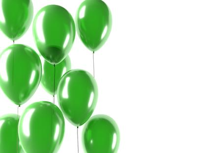green balloons: party green balloons, celebration or anniversary event, isolated, 3D illustration