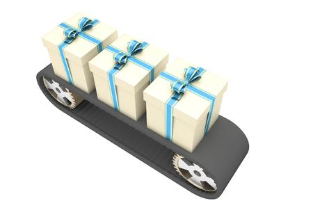 Black conveyer belt and three gifts as a symbol of manufacturing and mass production in christmas time. 3D illustration Stock Photo