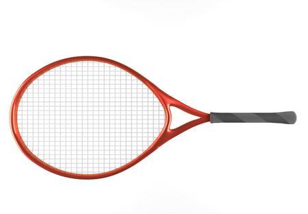 Red tennis racket. Sport item for leisure activity. 3D illustration