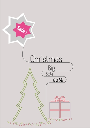 Christmas special offer sale poster in simple flat linear style with present. Illustration contains text: Christmas Big Sale 80% Illustration