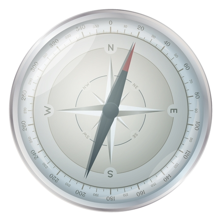 displays: Glossy silver compass illustration isolated on white background. Compass rose displays orientation: North, South, East, West with angles up to 360 degrees. Illustration
