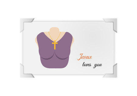 loves: Christian cross on a chain hanging on woman`s neck. Cross as a religious symbol of Jesus Christ`s crucifixion. Illustration contains text: Jesus loves you